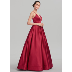 Ball-Gown V-neck Floor-Length Satin Prom Dress (018147708)