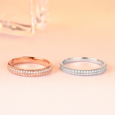 925 Sterling Silver With Round Cubic Zirconia Rings/Stackable Rings