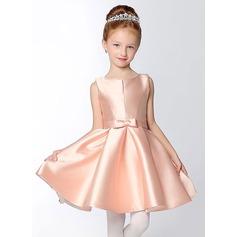 Forme Princesse Court/Mini Robes à Fleurs pour Filles - Satiné Sans manches Col V avec À ruban(s)