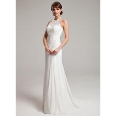 A-linjeformat Grimma Sweep släp Chiffong Tyll Bröllopsklänning med Rufsar Spets Beading
