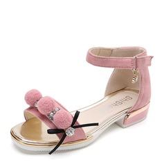 Fille de Suède talon plat À bout ouvert Chaussures plates avec Strass Velcro