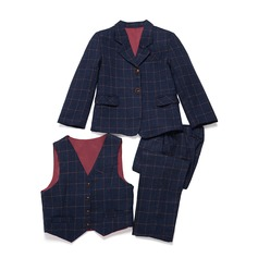 gutter 3 stykker Plaid Suits til ringbærere /Side Boy Suits med Jakke vest Bukser (287199752)