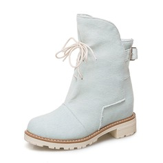 Women's Denim Low Heel Boots Mid-Calf Boots With Lace-up shoes