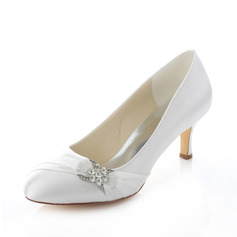 Women's Satin Stiletto Heel Closed Toe Pumps With Rhinestone (047087123)