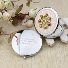 Personalized Flower Design Chrome Compact Mirror With Diamond Rhinestone