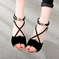 Kvinder Ruskind Kile Hæl sandaler Kiler Kigge Tå med Lynlås sko