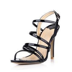 Piel brillante Tacón stilettos Sandalias Salón Encaje Solo correa con Hebilla zapatos