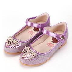 Fille de Bout fermé Cuir en microfibre talon plat Chaussures plates Chaussures de fille de fleur avec Perle d'imitation Velcro Cristal