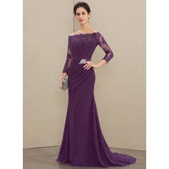 Trumpet/Mermaid Off-the-Shoulder Sweep Train Chiffon Lace Mother of the Bride Dress With Beading Sequins