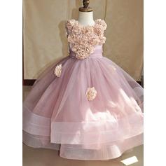 Balo Elbisesi Asimetrik Çiçek Kız Elbise - Tül/haraç ipek Kolsuz Yuvarlak Yaka Ile Çiçek(ler)