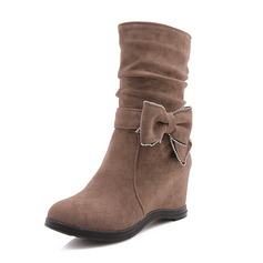 Women's Suede Wedge Heel Boots With Bowknot shoes