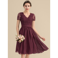 A-Line V-neck Knee-Length Chiffon Lace Bridesmaid Dress (007153321)