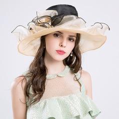 Dames Magnifique Coton/Fil net avec Fleur en soie Disquettes Chapeau/Kentucky Derby Des Chapeaux
