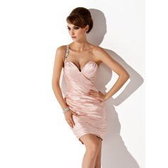 Sheath/Column One-Shoulder Short/Mini Charmeuse Cocktail Dress With Ruffle Beading