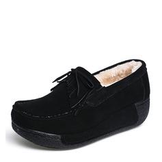 Femmes Suède Talon compensé Plateforme Bout fermé Compensée avec Bowknot Tassel chaussures
