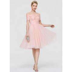 A-Line Off-the-Shoulder Knee-Length Tulle Cocktail Dress