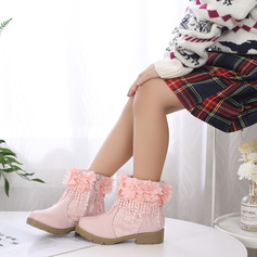 Girl's Round Toe Ankle Boots Lace Leatherette Chunky Heel Boots With Imitation Pearl Stitching Lace Flower Zipper Embroidery (207220295)