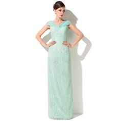 Tubo Off-the-ombro Longos Renda Vestido para a mãe da noiva com Pregueado