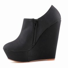 Women's Suede Wedge Heel Platform Closed Toe Wedges shoes