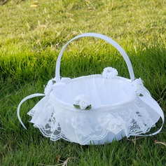 Beautiful Flower Basket in Cloth With Lace/Flower
