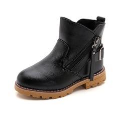 Fille de bout rond Bottines similicuir talon plat Chaussures plates Bottes avec Zip