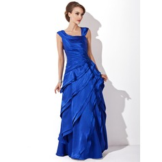 A-Line/Princess V-neck Floor-Length Charmeuse Mother of the Bride Dress With Cascading Ruffles