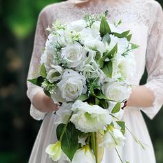 Simple And Elegant Cascade Silk Flower Bridal Bouquets - Bridal Bouquets