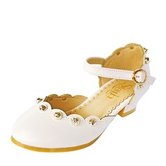 Girl's Round Toe Closed Toe Leatherette Low Heel Flower Girl Shoes With Rivet