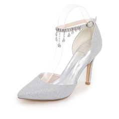 Women's Sparkling Glitter Stiletto Heel Pumps With Chain (047111526)