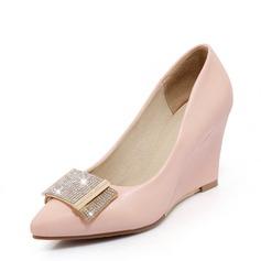 Vrouwen PU Wedge Heel Closed Toe Wedges met Strass schoenen