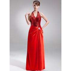 Corte A/Princesa Cabestro Hasta el suelo Charmeuse Con lentejuelas Vestido de festivo con Alfiler Flor Cristal