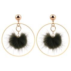 Utsökt Fauxen Pärla koppar med Oäkta Pearl Kvinnor Mode örhängen (Set av 2)