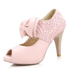 Vrouwen Kunstleer Stiletto Heel Laarzen Peep-toe Pumps met strik Stitching Lace