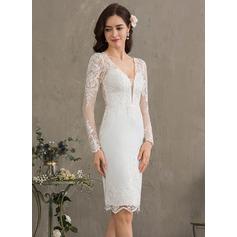 Vestido tubo Escote en V Hasta la rodilla Crepé Elástico Vestido de novia
