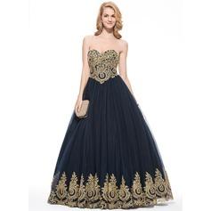 Платье для Балла возлюбленная Длина до пола Тюль Платье Для Выпускного Вечера с аппликации кружева
