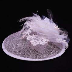 Senhoras Lovely Cambraia/Tule com Flor de seda Fascinators