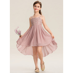 A-Line Square Neckline Asymmetrical Chiffon Lace Junior Bridesmaid Dress
