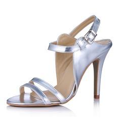 Konstläder Cone Heel Sandaler Peep Toe Slingbacks med Spänne skor