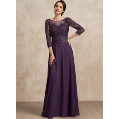A-Line Scoop Neck Floor-Length Chiffon Lace Mother of the Bride Dress With Sequins (008225583)