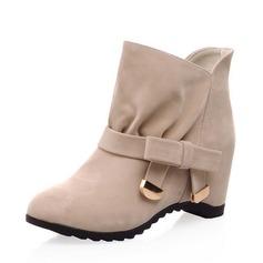 Kvinnor Mocka Kilklack Pumps Stängt Toe Kilar Stövlar Boots med Bowknot skor