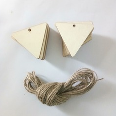 DIY Rectangular Wooden Hanging Tag With Natural Wood Chips for Wedding Decoration