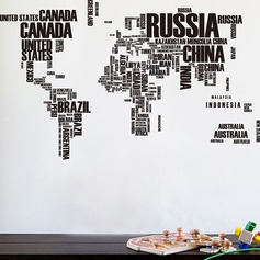 Double-sided world map English print removable wall sticker set (Sold in a single piece)