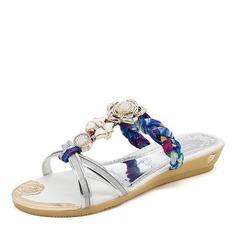 Женщины кожа Плоский каблук Сандалии На плокой подошве Открытый мыс Босоножки Тапочки с горный хрусталь Цветок обувь