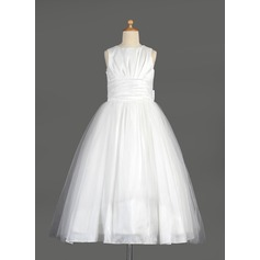 Empire Tea-length Flower Girl Dress - Taffeta/Tulle Sleeveless Scoop Neck With Bow(s) (010014642)