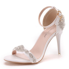 Women's Leatherette Stiletto Heel Peep Toe Sandals With Buckle Rhinestone