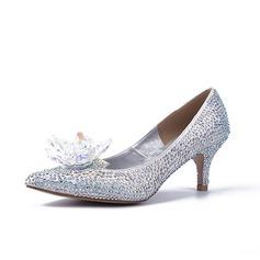 Vrouwen Sprankelende Glitter Stiletto Heel Pumps Closed Toe met Strass schoenen
