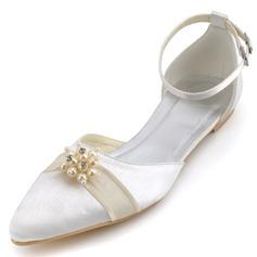 Frauen Satin Flascher Absatz Geschlossene Zehe Flache Schuhe mit Nachahmungen von Perlen