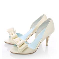 Kvinner Satin Stiletto Hæl Titte Tå Beach Wedding Shoes med Bowknot