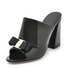 Donna Pelle verniciata Tacco spesso Sandalo Stiletto Punta aperta Con cinturino con Bowknot scarpe