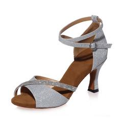 De mujer Cuero Tacones Sandalias Danza latina con Rhinestone Tira de tobillo Zapatos de danza